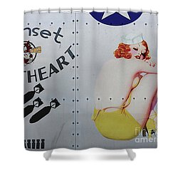 Vintage Pinup Nose Art Sunset Sweetheart Shower Curtain by Cinema Photography