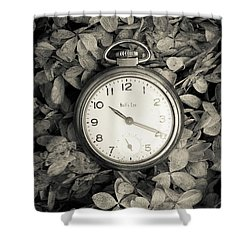 Shower Curtain featuring the photograph Vintage Pocket Watch Over Flowers by Edward Fielding