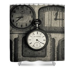 Shower Curtain featuring the photograph Vintage Pocket Watch Over Old Clocks by Edward Fielding