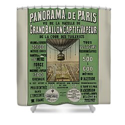 Shower Curtain featuring the photograph Vintage Poster Of Great Balloon View Of Paris 1878 by John Stephens