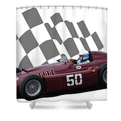 Vintage Racing Car And Flag 1 Shower Curtain by John Colley
