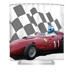 Vintage Racing Car And Flag 2 Shower Curtain by John Colley