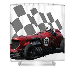 Vintage Racing Car And Flag 3 Shower Curtain by John Colley