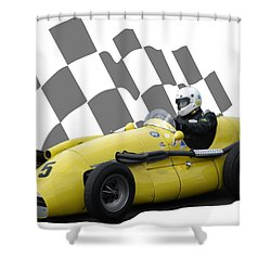 Vintage Racing Car And Flag 4 Shower Curtain