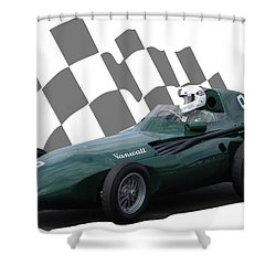 Vintage Racing Car And Flag 5 Shower Curtain by John Colley