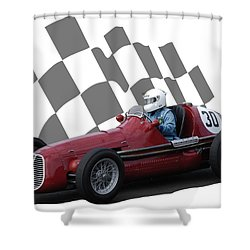 Vintage Racing Car And Flag 6 Shower Curtain