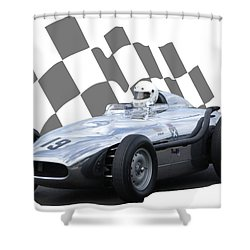 Vintage Racing Car And Flag 7 Shower Curtain by John Colley