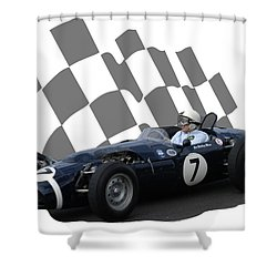 Vintage Racing Car And Flag 8 Shower Curtain by John Colley
