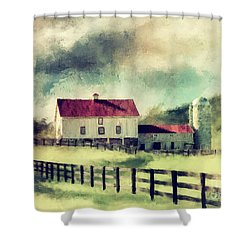 Shower Curtain featuring the digital art Vintage Red Roof Barn by Lois Bryan