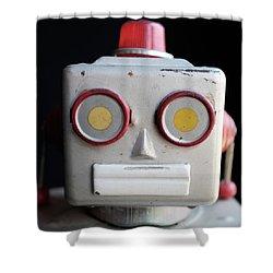 Vintage Robot Square Shower Curtain