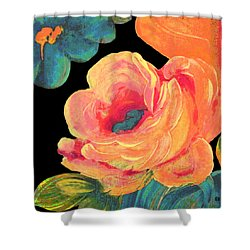Shower Curtain featuring the painting Vintage Rose On Black by Lisa Weedn