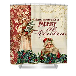 Vintage Santa Claus - Glittering Christmas Shower Curtain