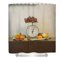 Vintage Scale And Fruits Painting Shower Curtain