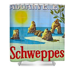 Vintage Schweppes Algarve Mosaic Shower Curtain
