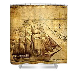 Shower Curtain featuring the mixed media Vintage Ship Map by Lucia Sirna