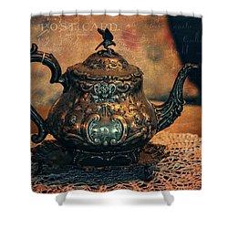 Vintage Silver Teapot Shower Curtain