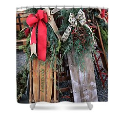 Vintage Sleds Shower Curtain