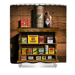 Vintage Spice Tins 2 - Nostalgic Spice Rack - Americana Kitchen Art Decor  Shower Curtain