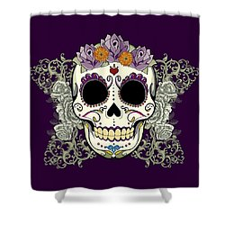 Vintage Sugar Skull And Flowers Shower Curtain