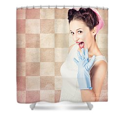 Vintage Surprised Pinup Woman Doing Housework Shower Curtain by Jorgo Photography - Wall Art Gallery