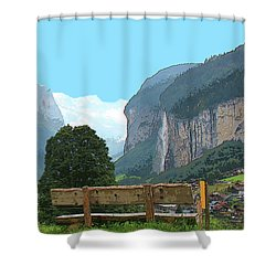 Vintage Switzerland Alps And Waterfall Shower Curtain