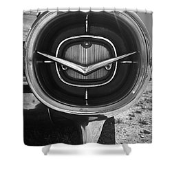 Vintage Tail Fin In Black And White Shower Curtain by Kelly Hazel