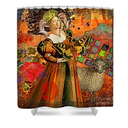Vintage Taurus Gothic Whimsical Collage Woman Fantasy Shower Curtain