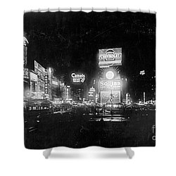 Shower Curtain featuring the photograph Vintage Times Square At Night Black And White by John Stephens