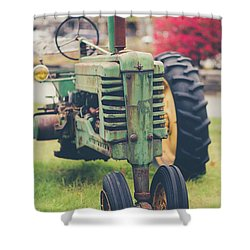 Shower Curtain featuring the photograph Vintage Tractor Autumn by Edward Fielding