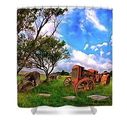 Vintage Tractor In The Blue Ridge Ap Shower Curtain