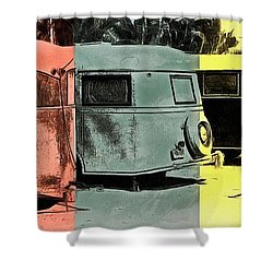 Shower Curtain featuring the painting Sarasota Series Vintage Trailer Park Pop Art by Edward Fielding