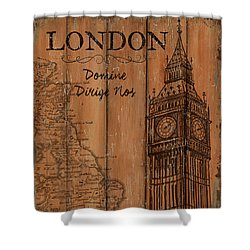 Shower Curtain featuring the painting Vintage Travel London by Debbie DeWitt