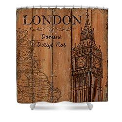 Vintage Travel London Shower Curtain by Debbie DeWitt