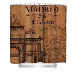 Shower Curtain featuring the painting Vintage Travel Madrid by Debbie DeWitt