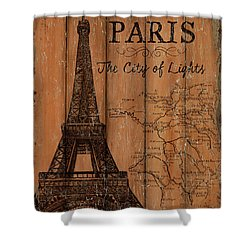Shower Curtain featuring the painting Vintage Travel Paris by Debbie DeWitt