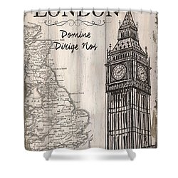 Vintage Travel Poster London Shower Curtain by Debbie DeWitt