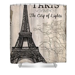 Vintage Travel Poster Paris Shower Curtain by Debbie DeWitt