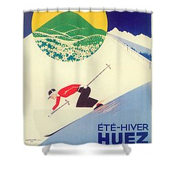 Vintage Travel Skiing Shower Curtain