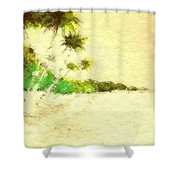 Vintage Tropical Beach Shower Curtain by Anthony Fishburne