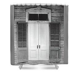 Shower Curtain featuring the photograph Vintage Tropical Weathered Key West Florida Doorway by John Stephens
