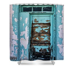 Shower Curtain featuring the photograph Vintage Turquoise Door  by Saija Lehtonen