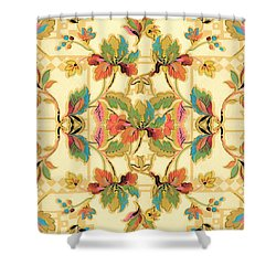 Vintage Turquoise Orange Floral Wallpaper Pattern Shower Curtain by Tracie Kaska