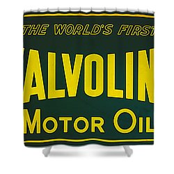 Shower Curtain featuring the digital art Vintage Valvoline Motor Oil Metal Sign by Marvin Blaine