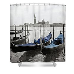 Vintage Venice In Black, White, And Blue Shower Curtain by Brooke T Ryan