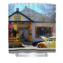 Vintage Vw Beetle At Seligman Antiques, Historic Route 66 Shower Curtain