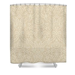 Vintage Wallpaper Beige Floral Elegant Damask Shower Curtain