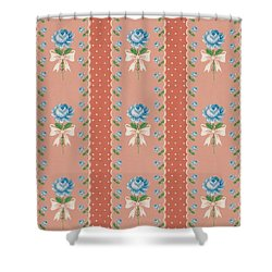 Vintage Wallpaper Blue Roses Coral Polka Dots Shower Curtain