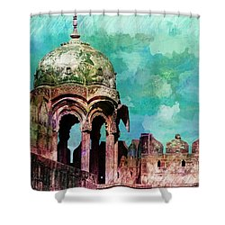 Vintage Watercolor Gazebo Ornate Palace Mehrangarh Fort India Rajasthan 2a Shower Curtain