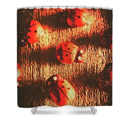 Vintage Wooden Ladybugs Shower Curtain by Jorgo Photography - Wall Art Gallery