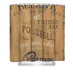 Vintage Wtlb Believe Shower Curtain